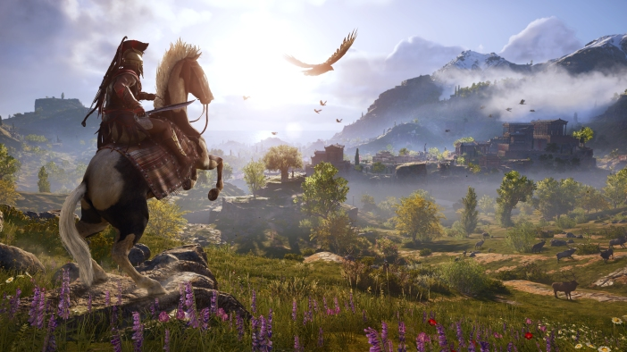 Assassin's Creed: Odyssey landscape with your character Kassandra on a rearing horse