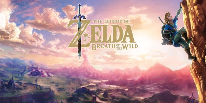 The Legend of Zelda Breath of the Wild logo with Link climbing a mountain