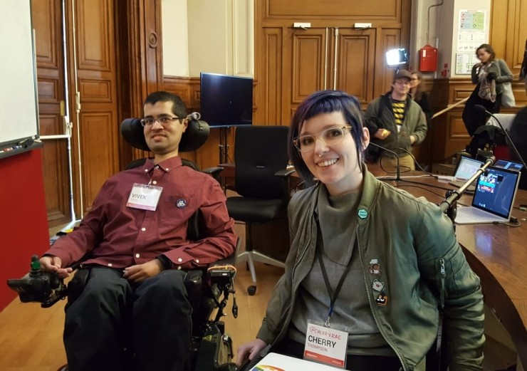 Me and Cherry Thompson at the Gaming Accessibility Conference 2018
