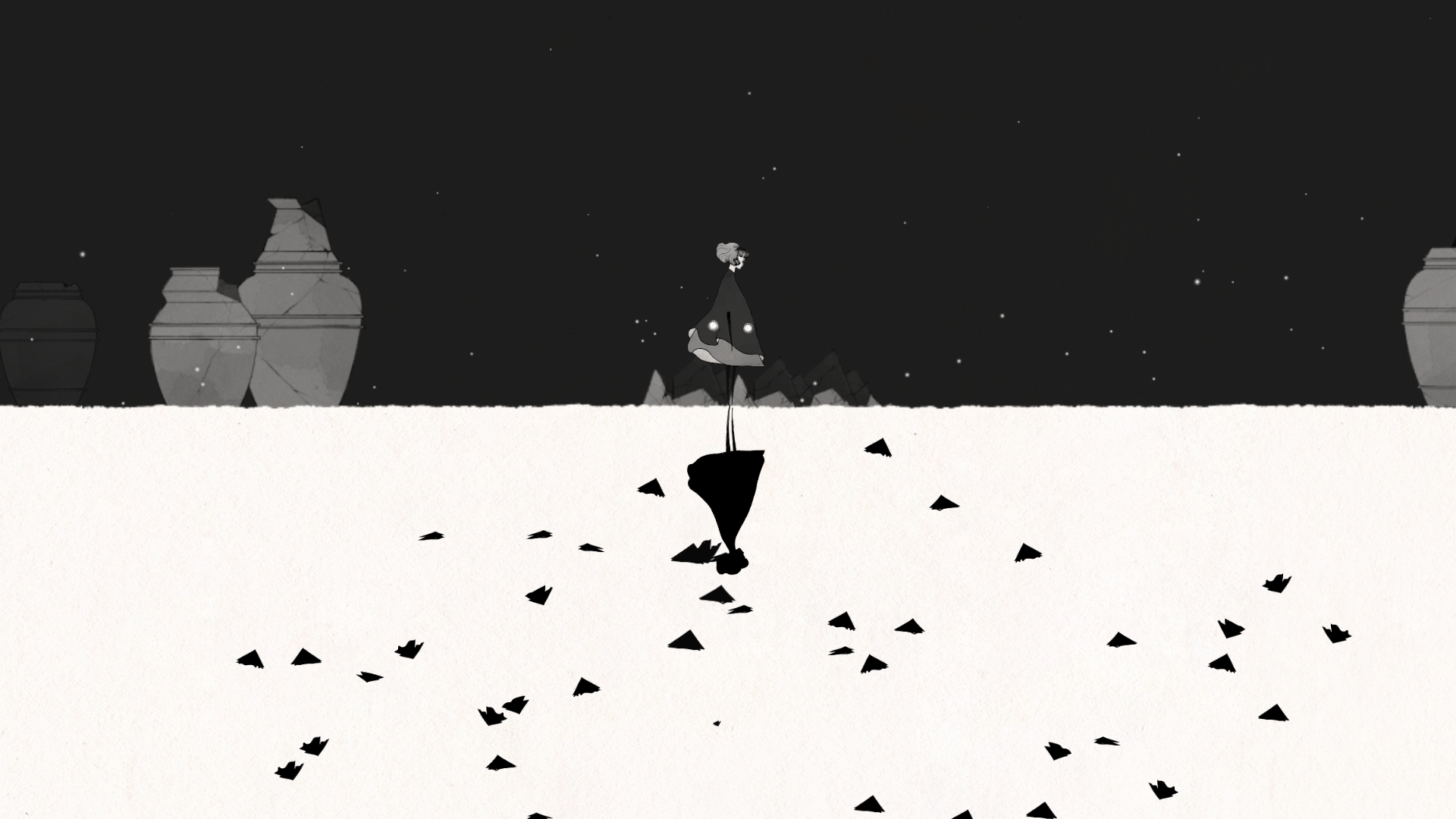 Black and White contrast in the game Gris