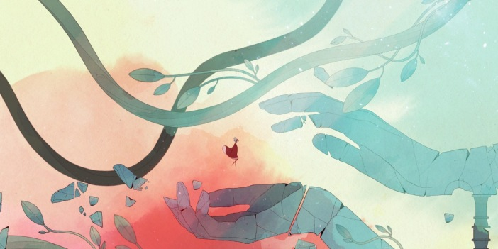 Gameplay Image of a Girl floating between 2 hands from the game Gris