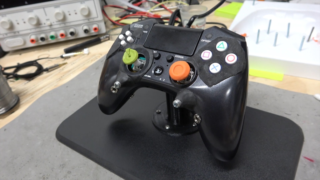 Completed custom controller and stand made by Ben Heck.
